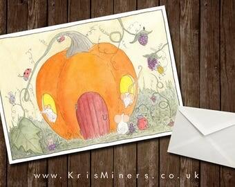 Whimsical Autumn / Halloween Pumpkin  Greetings Card - Harvest Hotel