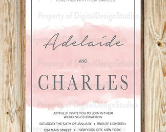 Wedding Invitation Download - Brushed Collection in Rose Quartz - INVITATION