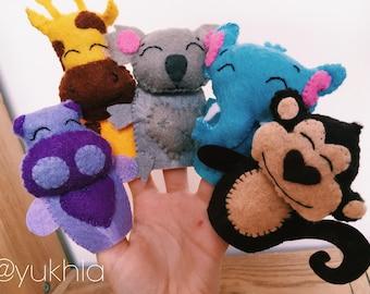 Felt finger puppets. Monkey, koala, giraffe, hippopotamus and elephant.