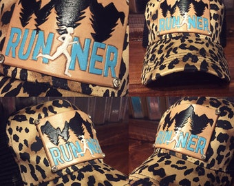 Custom made logo/name leather patch trucker hat