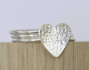 Trio of stacking rings with heart