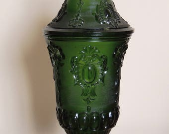 Green Glass  'Venetian' Vase or  Urn with lid