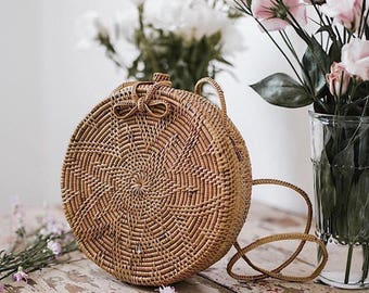 Round Rattan Bag / Round Basket Bag / Round Wicker Bag - instock! Ships within 24-48 hours