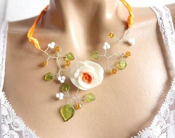 Halterneck summer orange and white necklace