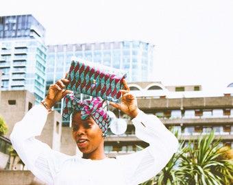 African inspired vinyl/PVC clutch