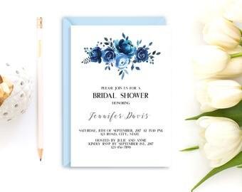 Bridal shower invitation, printable bridal shower invitation, Floral bridal shower invitation, Blue bridal invitation