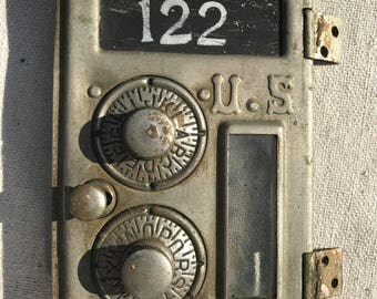 1886 nickel plated post office mailbox door, flat glass, #1 size