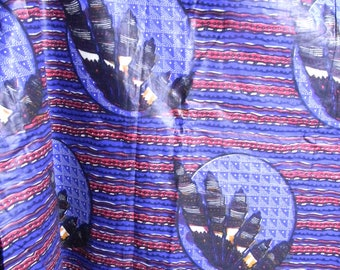 African Crystals Wax Batik Yardage Blue Purple