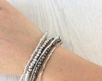Silver MULTISTRAND pearl bracelet