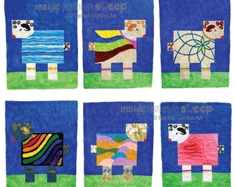 Greeting Card set of 6 fun colorful unique whimsical sheep blank inside Calming Water