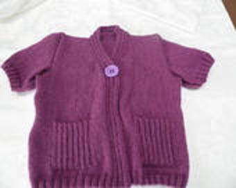 Short sleeve and pockets plated Cardigan size 4t
