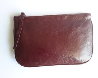 Present for her, coin purse, Zipper Pouch, Burgundy color bag, leather wallet, leather pouch, cosmetic bag,