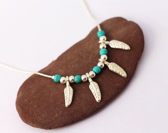Necklace 4 feathers Sterling Silver 925, chain, sterling silver beads and turquoise stones