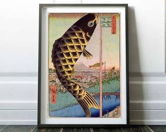 Japanese art print / Asian art print poster / Fish print / Japanese drawing / Japanese painting / Asian drawing / Asian art painting