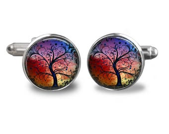 Tree cufflinks nature cufflinks woodland cufflinks watercolor mens cufflinks glass cufflink silver cufflinks mens cuff links