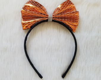 ORANGE Metallic Bow HEADBAND - HALLOWEEN Bow/Halloween Headband/Metallic Headband