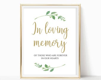 In Loving Memory Sign Memorial Table Sign In Memory Sign Memorial Printable Memory Printable DIY Instant Download 8x10, 5x7, 4x6 Jasmine