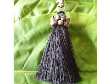 Black keychain key ring bag charm