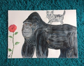 Quirky One off Watercolour of Gorilla and Kitten entitled I'll Protect You Kitten