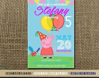 Peppa Pig Invitation / Peppa Pig Birthday / Peppa Pig Birthday Invitation / Peppa Pig Editable Birthday Party / Peppa Pig-SL09