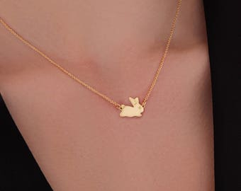 Rabbit necklace. Bunny Necklace. Rabbit Pendant. 24K Gold Plated