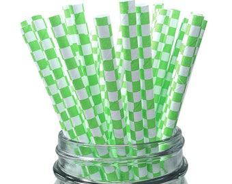 Green Checkered 25pc Paper Straws