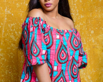 The Sinachi African print off shoulder top