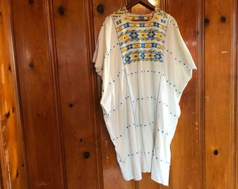Gold and blue embroidered kaftan