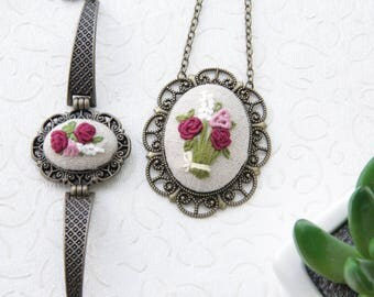 Embroidery Necklace and Bracelet Set