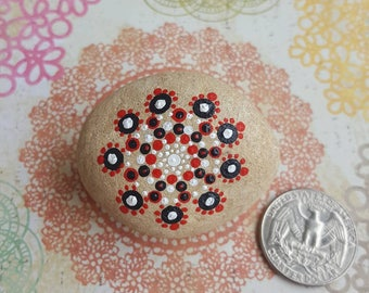 Red, Black, and White Dotted Mandala Stone