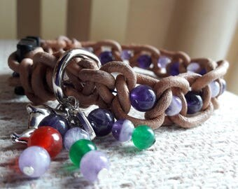 Dog Collar made with leather and gemstones