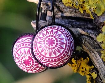 Mosaic flower, cabochon earrings, white-purple