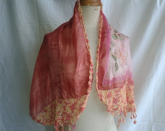 Pink large scarf painted silk and crochet