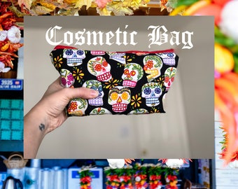 3D Cosmetic Bag - Colorful Mexican Sugar Skull  Cosmetic Zipper Pouch Bag