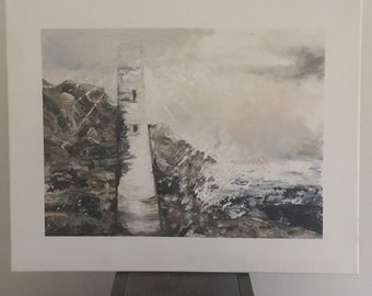 Lighthouse, ever changing light. Painting acrylic, one only.Yorkshire, coast, sea, storm