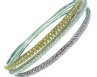 Yellow and Pink Sapphire and Diamond White Gold Bangle Bracelets Set of 3