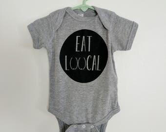 Eat Local  Onesie. Breastfeeding Onesie. Baby Shower Gift. Soft Vintage Onesie. Unisex Onesie.