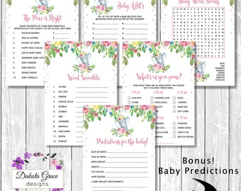 ELEPHANT Baby Shower GAMES PACKAGE, 5x Floral Baby Jungle Printable Games, Watercolor Floral, Predictions, Word Search, Scramble, Purse Game