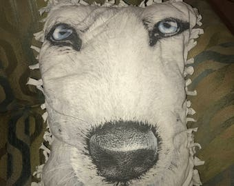 White Wolf Decorate Comfy Upcycled Pillow