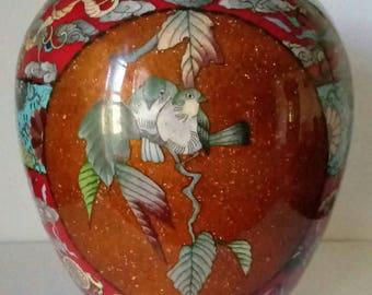 Large Antique Asian Cloisonne Vase w/Phoenix & Birds.