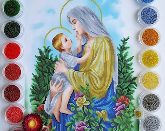 Beaded Embroidery Kit Madonna and Child Beaded cross stitch Virgin Mary and Baby beadpoint set Mother of God religion beading kit DIY gift