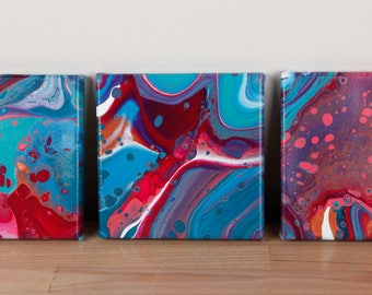 Pink Blue and Bronze Trio of Fluid Acrylic Paintings