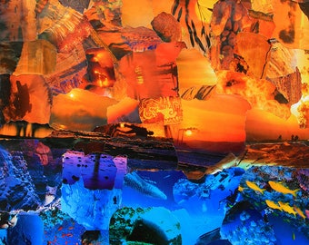 Sunset Ocean Collage Poster
