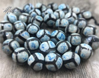 Faceted Round Agate Tibetan DZI Beads,Evil Eyes Football Stripe Spot Tribal Ethnic Agate Beads For Bracelet Necklace DIY Jeweelry MB081304