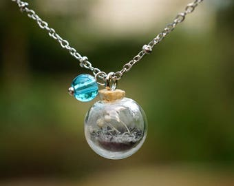 Pet memorial ash cremation glass eternity necklace sterling for Cremation jewelry for pets ashes