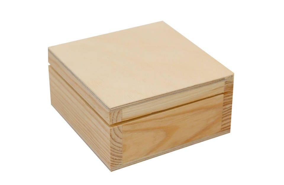 Wooden box with lid wood box decoupage box craft box for Craft storage boxes with lids