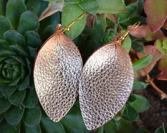 Rose Gold Leather Earrings. Genuine leather, handmade, lightweight, and chic!