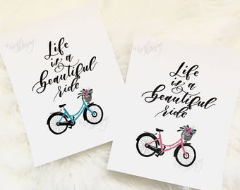 Life Is A Beautiful Ride | 8x10 Print | Hand Lettered | Modern Calligraphy