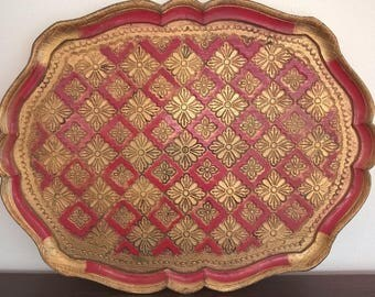 1950s Italian wooden serving tray, gold and red. Mid Century. Golden Italian Florentine Serving Tray