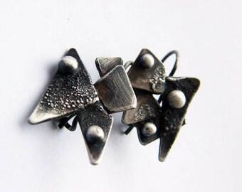 Wings. Handmade oxidized sterling silver earrings